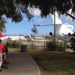 Jet idles next to Clover Park in Santa Monica