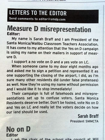 Sarah Braff's Letter to the Editor